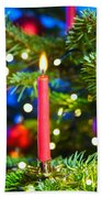 Red Candles In Christmas Tree Beach Towel