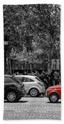 Red Car In Paris Beach Towel