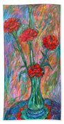 Red Carnation Melody Beach Towel