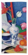 Red Chair And Tulips, C.1919 Beach Towel