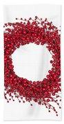 Red Christmas Wreath Beach Towel