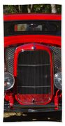 Red Classic Hotrod Beach Towel