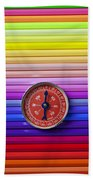 Red Compass On Rolls Of Colored Pencils Beach Towel