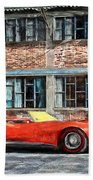 Red Corvette Beach Towel by Bob Orsillo