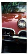 Red Corvette With Trees Beach Towel