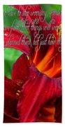 Red Day Lily And Quote Beach Towel