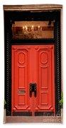 Red Door On New York City Brownstone Beach Towel