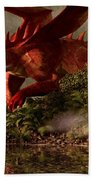 Red Dragon And Nude Bather Beach Towel