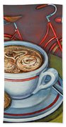 Red Dutch Bicycle With Cappuccino And Amaretti Beach Towel