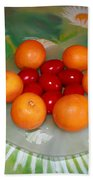 Red Eggs And Oranges Beach Towel