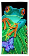 Red-eyed Tree Frog And Butterfly Beach Towel