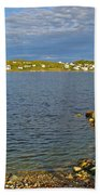 Red Fishing Boat In Twillingate Harbour-nl Beach Towel