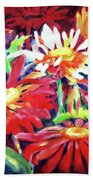 Red Floral Mishmash Beach Towel