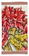 Red Floral Photoart Beach Sheet