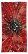 Red Flower 1 - Vibrant Red Floral Art Beach Towel by Sharon Cummings