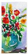 Red Flowers In A Vase Beach Towel