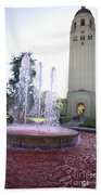 Red Fountain And Hoover Tower Stanford University Beach Towel