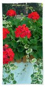 Red Geranium 1 Beach Towel