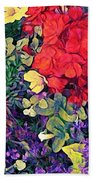 Red Geranium With Yellow And Purple Flowers - Horizontal Beach Towel