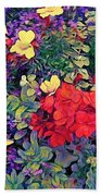 Red Geranium With Yellow And Purple Flowers - Vertical Beach Towel