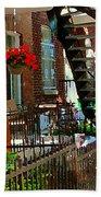 Red Geraniums Verdun Winding Staircases Hanging Flower Basket Montreal Porch Scene Carole Spandau Beach Towel