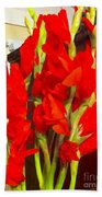 Red Glads Blooming Beach Towel