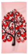 Red Glass Ornaments Beach Towel