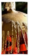 Red Gold Glitter Beach Towel