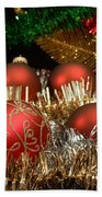 Red Gold Green Christmas Beach Towel