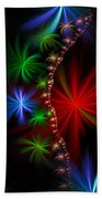 Red Green And Blue Fractal Stars Beach Towel