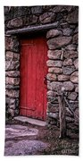 Red Grist Mill Door Beach Towel