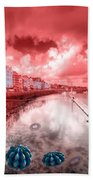 Red Harbouring  Beach Towel