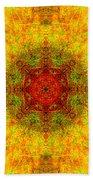 Red Heart Sun Rainbow Mandala Beach Towel