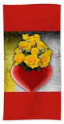 Red Heart Vase With Yellow Roses Beach Towel