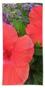 Red Hibiscus And Purple Blossoms Beach Towel