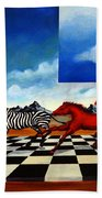 Red Horses With Zebra Beach Towel