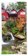 Red House By The Waterfall Beach Towel