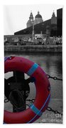 Red Lifebelt At Albert Dock 2 Beach Towel