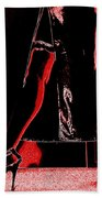 Red Light Black Dress Beach Towel