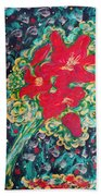 Red Lilies Beach Towel