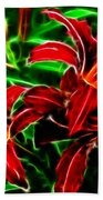 Red Lilies Expressive Brushstrokes Beach Towel