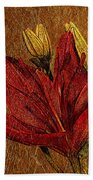 Red Lily Gold Leaf Beach Towel