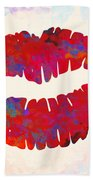 Red Lips Watercolor Painting Beach Towel