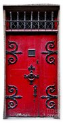 Red Medieval Door Beach Sheet