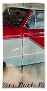 Red Mini Nash Vintage Car Beach Towel