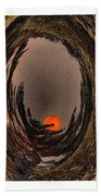 Red Moon Rising - Abstract - Triptych Beach Towel