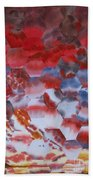 Red Morning With Two Ducks Beach Towel