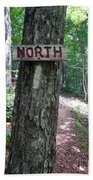Red North Sign Beach Towel