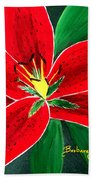 Red Oriental Daylily Beach Towel