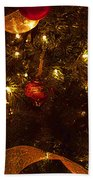 Red Ornament And Gold Ribbon Beach Towel
